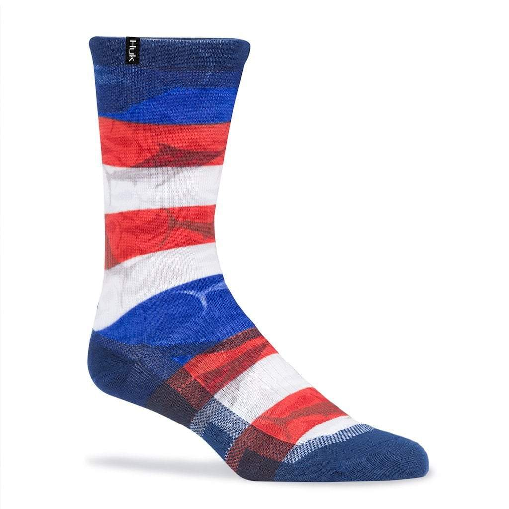 Huk KC Scott Red, White & Blue Marlin Icon Crew Sock