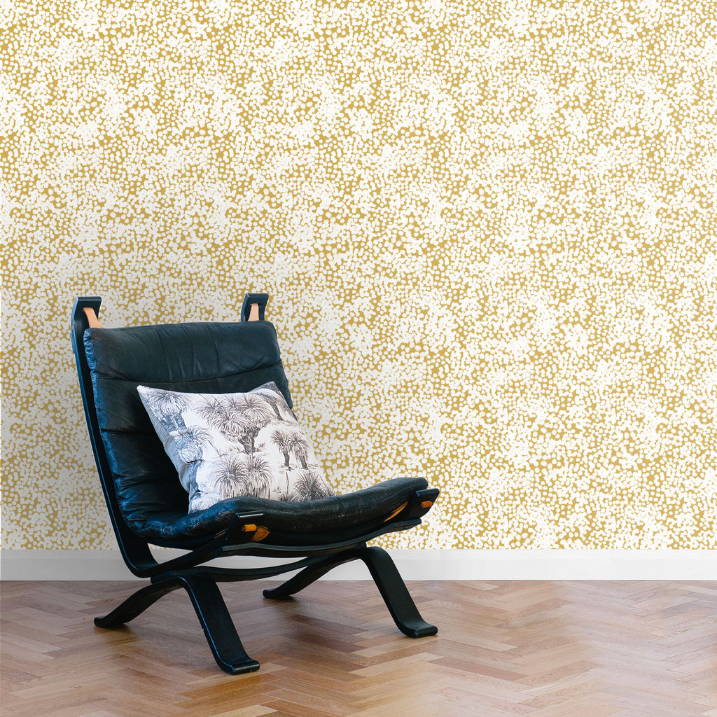 Stippled Wallpaper. White on Mustard
