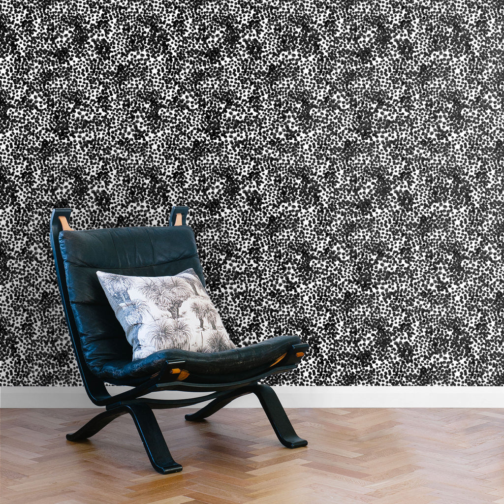 Stippled Wallpaper. Black on white