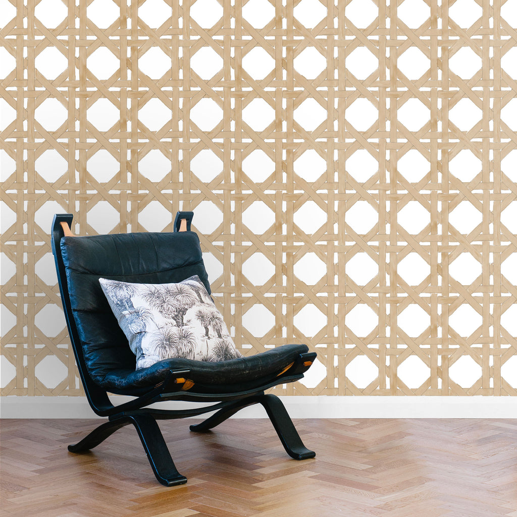 Rattan Wallpaper. Natural