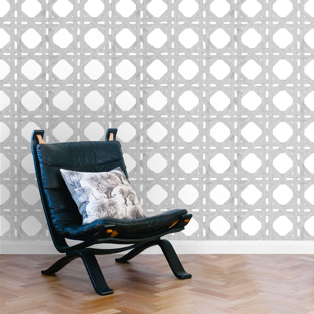 Rattan Wallpaper. Grey