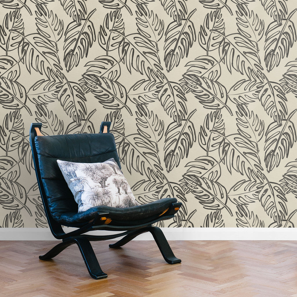 Leaves Wallpaper. Black on Bone