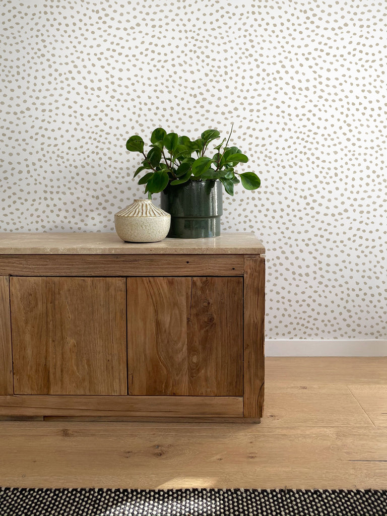 Scallop Dots Wallpaper. Linen