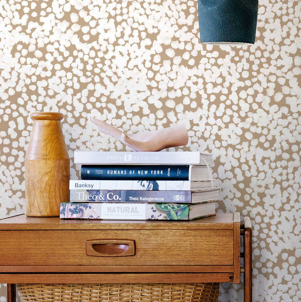 Stippled Wallpaper. White on Tan