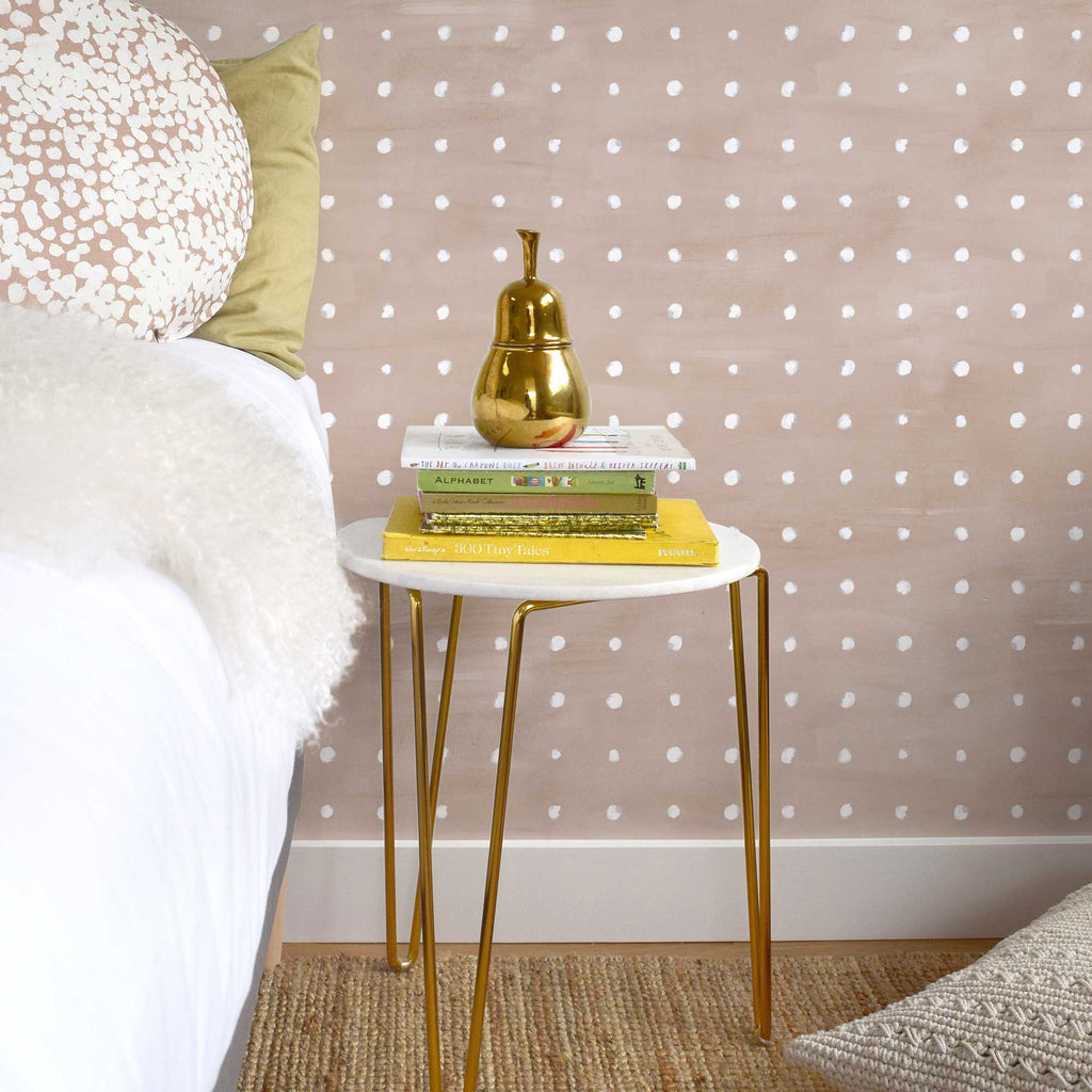 Piper Wallpaper. White on Blush