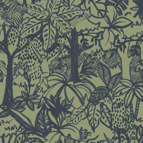 Jungle Wallpaper. Blue and Green