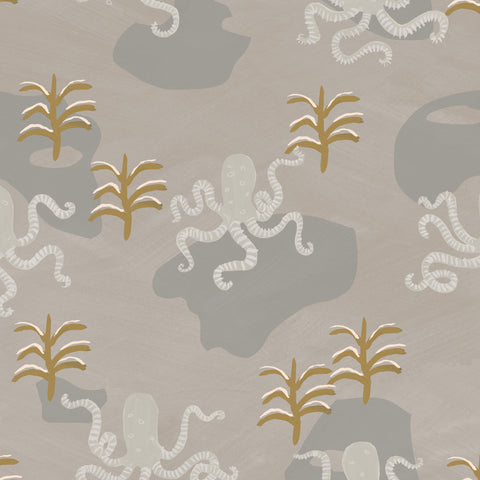 Octopi Wallpaper. On Light Linen