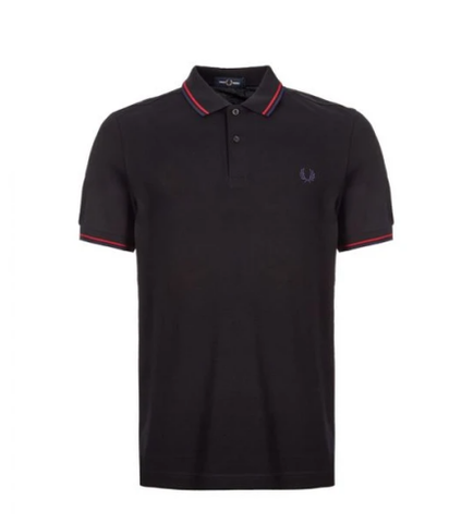 Fred Perry Twin Tipped Shirt In Black/Red Navy