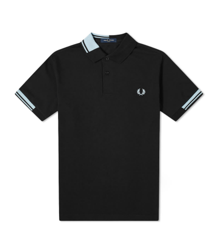 Fred Perry Abstract Collar Polo Shirt Black