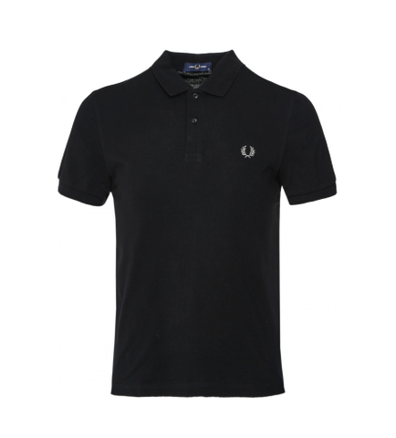 Fred Perry Plain Polo Shirt Black/Chrome