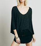 Free People Tambourine Tee Black
