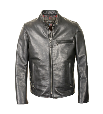 SCHOTT NYC Waxed Black Natural Pebbled Cowhide Café Leather Jacket Black