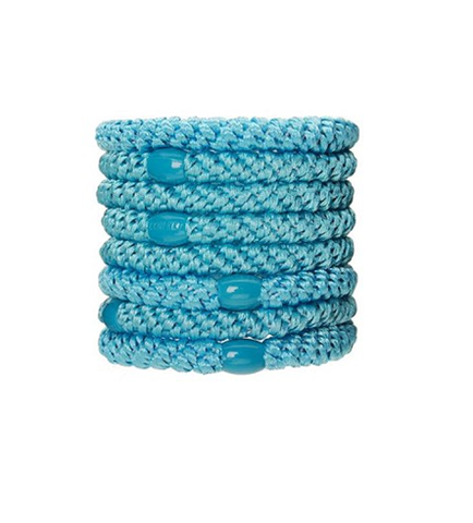 L. Erickson Ponytail Holders - Set of Eight- Aqua