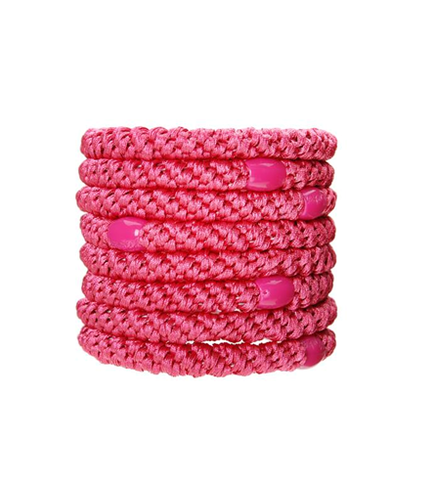 L. Erickson Ponytail Holders - Set of Eight- Fuchsia