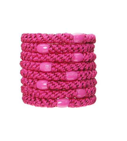L. Erickson Ponytail Holders - Set of Eight- Raspberry