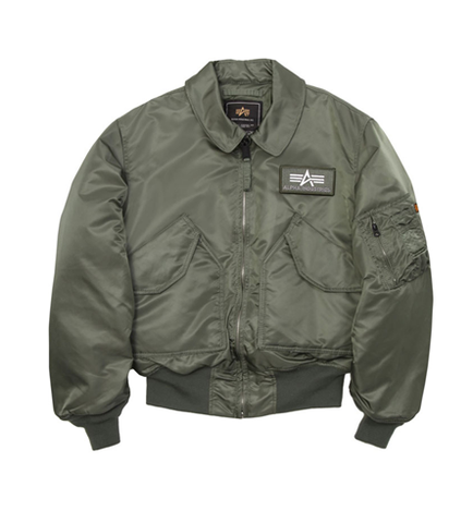 Alpha Industries CWU-45P Nylon Flight Jacket Sage Green