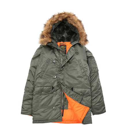 Alpha Industries Slim Fit N-3B Parka Sage/Orange