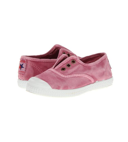 Cienta 70777 Distressed Pink Canvas Laceless Sneaker