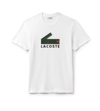 LACOSTE MEN'S CREW NECK GRAPHIC CROCODILE BRANDING COTTON JERSEY T-SHIRT WHT