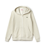 LACOSTE LIVE HOODED ZIPPERED COTTON UNISEX SWEATSHIRT PIGEON GREY