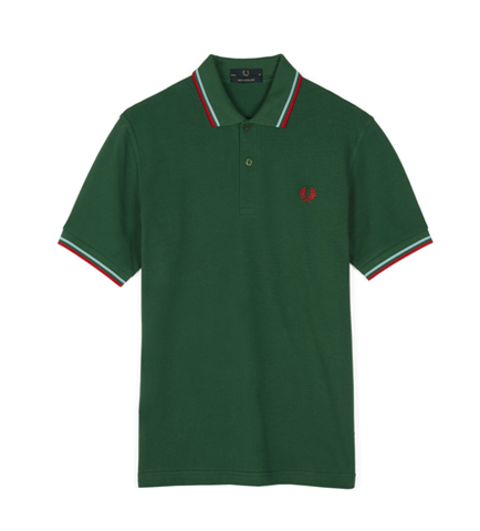 Fred Perry M12 Original Twin Tipped Polo Tartan Green
