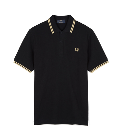Fred Perry M12 Original Twin Tipped Polo Black / Champagne