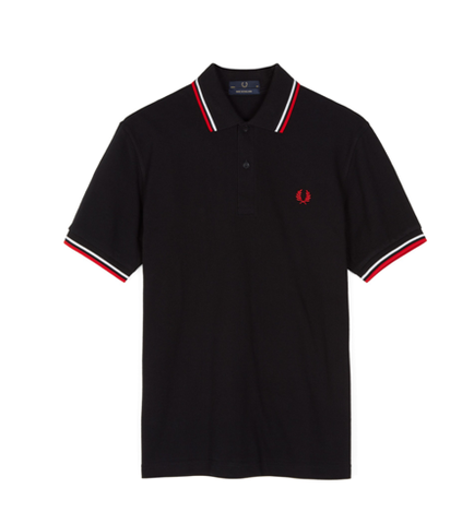Fred Perry M12 Original Twin Tipped Polo Black / White / Bright Red