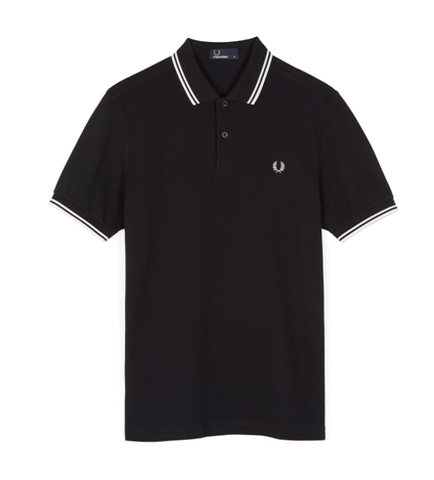 Fred Perry M3600 TWIN TIPPED Polo Black / Porcelain / Porcelain