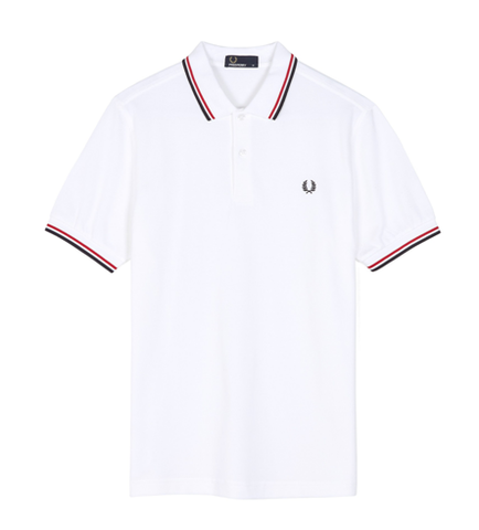 Fred Perry M3600 TWIN TIPPED Polo WHT/BRT RED/NVY
