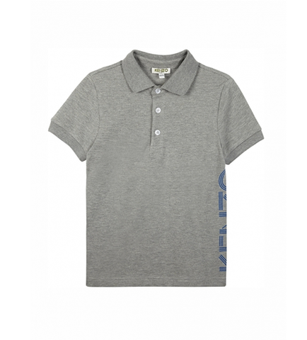 KENZO KIDS KJ11508 Grey Side Logo Polo Shirt
