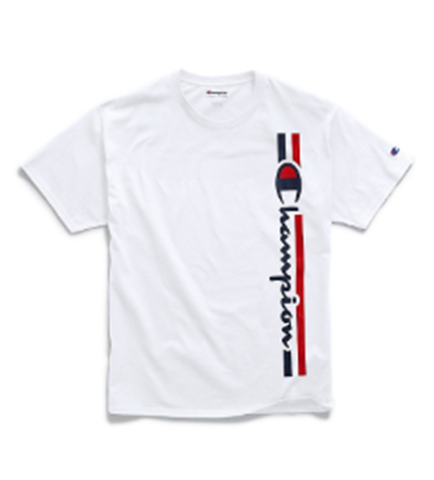 Champion Men's Classic Jersey Tee, Vertical Logo White