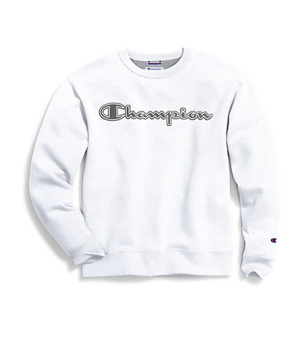 Champion Men's Powerblend Fleece Crew Logo White
