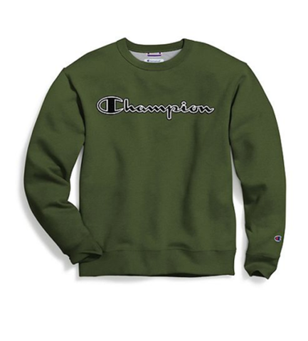 Champion Men's Powerblend Fleece Crew Logo Cargo Olive