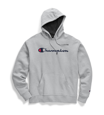 Champion Men's Powerblend Pullover Hoodie Script Logo Oxford Grey