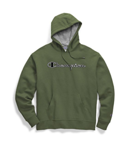 Champion Men's Powerblend Fleece Pullover Hoodie Chainstitch Outline Cargo Olive