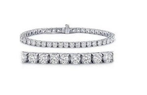 2.10ct [55] Round Brilliant Cut [Crown Design] Diamond Tennis Bracelet | 18kt White Gold