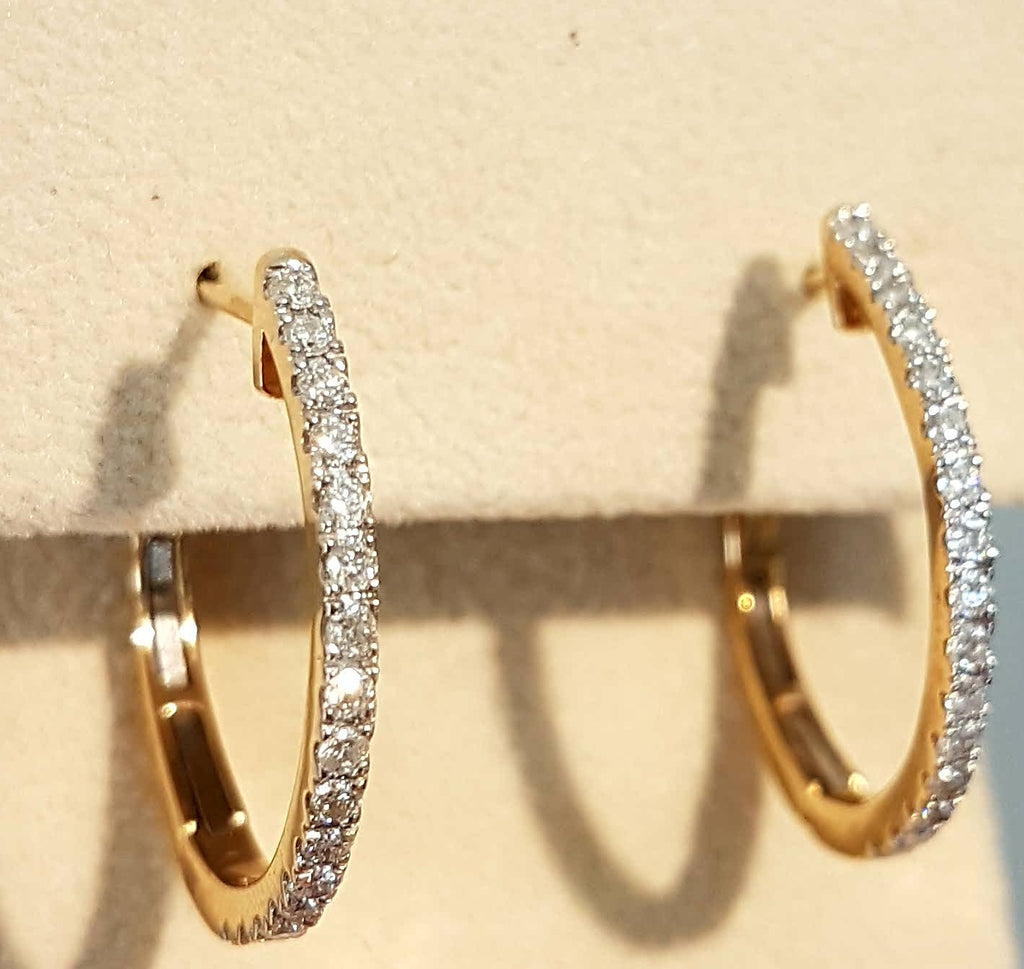 0.50ct |Round Cut Diamond Hoop Earrings| set in 14kt Yellow Gold