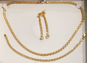 18kt |Yellow Gold Set with Necklace, Bracelet| and Drop Earrings weighing 16.228grams