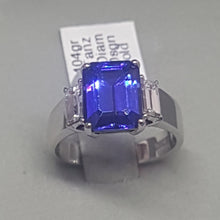 Load image into Gallery viewer, 2.82ct Emerald Cut Tanzanite | 0.53cts Baguette Cut Diamonds | Designer Ring | 18kt White Gold