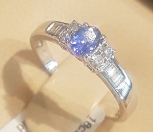 0.20ct Oval Cut Tanzanite Centre | 0.22cts Round and Baguette Cut Diamonds | Designer Ring | 18kt White Gold