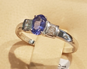 0.30ct Oval Cut Tanzanite Centre | 0.10cts Baguette Cut Diamonds | Designer Ring | 18kt White Gold