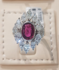 3.00ct [12] Marquise Cut Diamonds | 1.32ct Centre Oval Cut Ruby | Designer Ring | 14kt White Gold