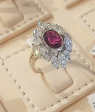 Load image into Gallery viewer, 3.00ct [12] Marquise Cut Diamonds | 1.32ct Centre Oval Cut Ruby | Designer Ring | 14kt White Gold