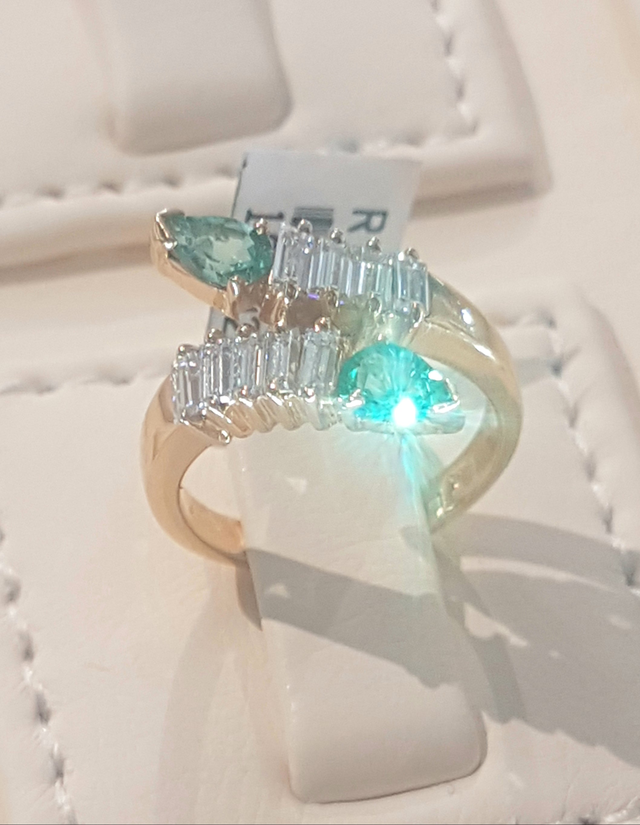 0.50cts Pear Cut Emeralds | 0.85ct Emerald Cut Diamonds | Designer Ring | 14kt Yellow Gold