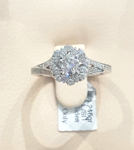 1.00ct |0.50ct centre Round Brilliant| Cut Diamond Ring flower design in 14kt White Gold