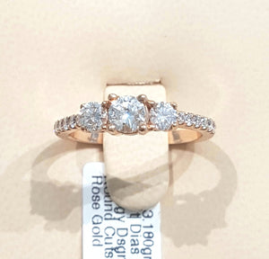 1.00ct Round Brilliant Cut Diamonds | Trilogy Design | 14kt Rose Gold