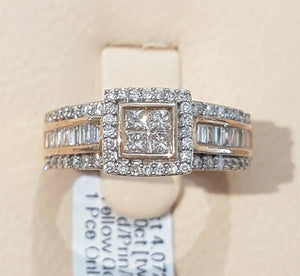 1.00ct Round, Princess, Baguette Cut Diamond | Designer Ring | 10kt Yellow Gold
