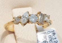 Load image into Gallery viewer, 0.60ct [5] Fancy Shaped Diamonds | Designer Band | 18kt Yellow Gold