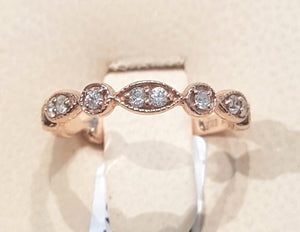 0.25ct Round Brilliant Cut Diamonds | Stackable Design | 14kt Rose Gold