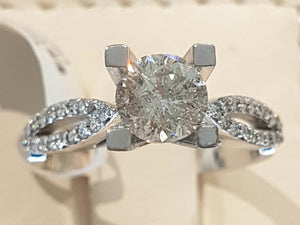1.05ct Centre with 0.32ct Round Brilliant Cut Diamonds | Designer Ring | 18kt White Gold